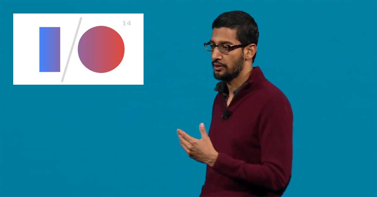 Sundar Pichai speaking at Google I/O 2014