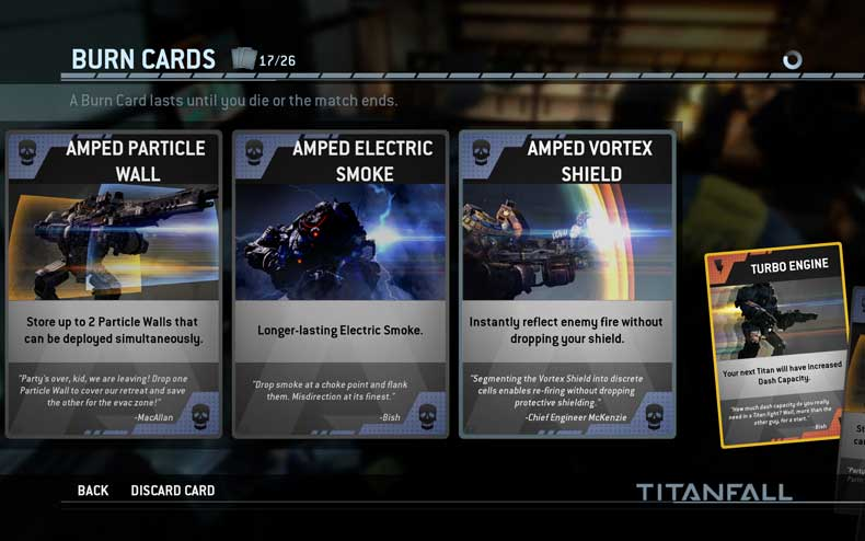 Titan Burn Cards (courtesy Titanfall)