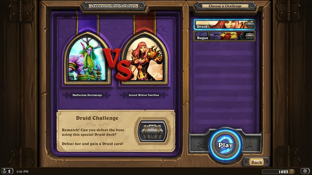 Druid Class Challenge Screen