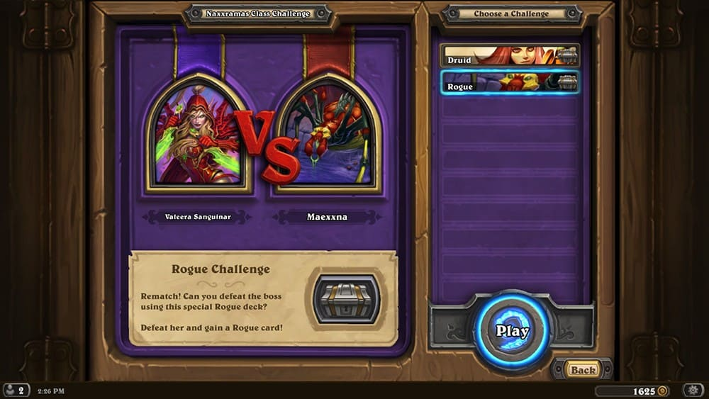 Rogue Class Challenge Screen