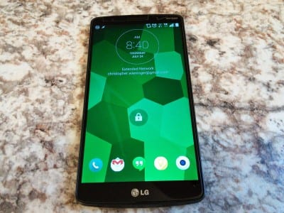 LG G3 powered on and at the lock screen.