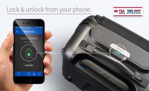 Unlock from your phone (courtesy Bluesmart)