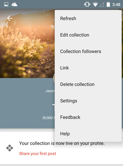 Mobile-Google-Collections-Collections-Menu