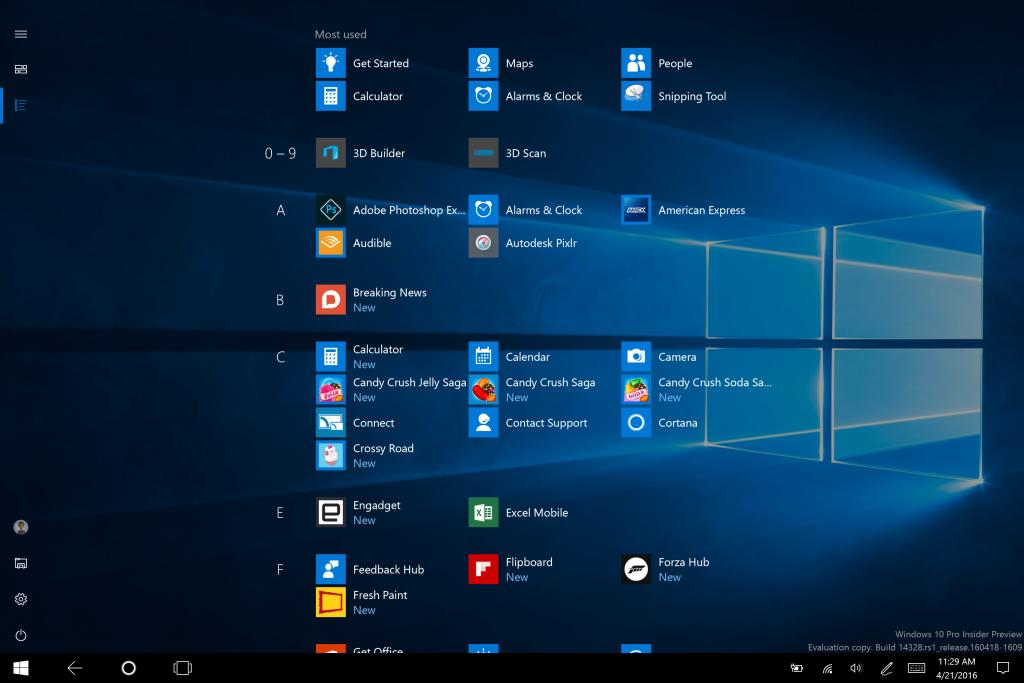 Windows 10 Tablet Mode All Apps