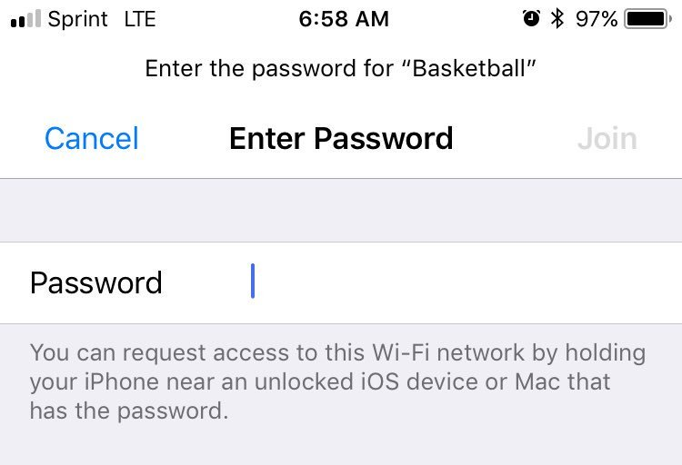 IOS 11 allows one device to easily share WiFi with others