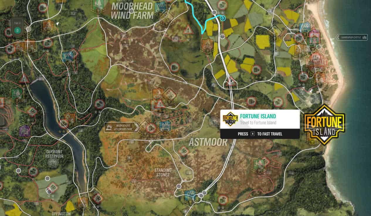 Forza Horizon 4 Fortune Island location