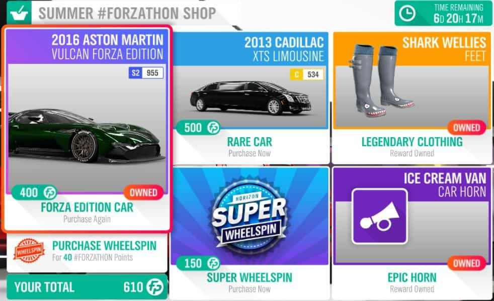 Forza Horizon 4 Summer #Forzathon Shop January 17