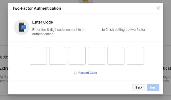 Facebook two-factor authentication