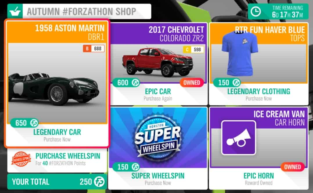 The Autumn #Forzathon Shop.