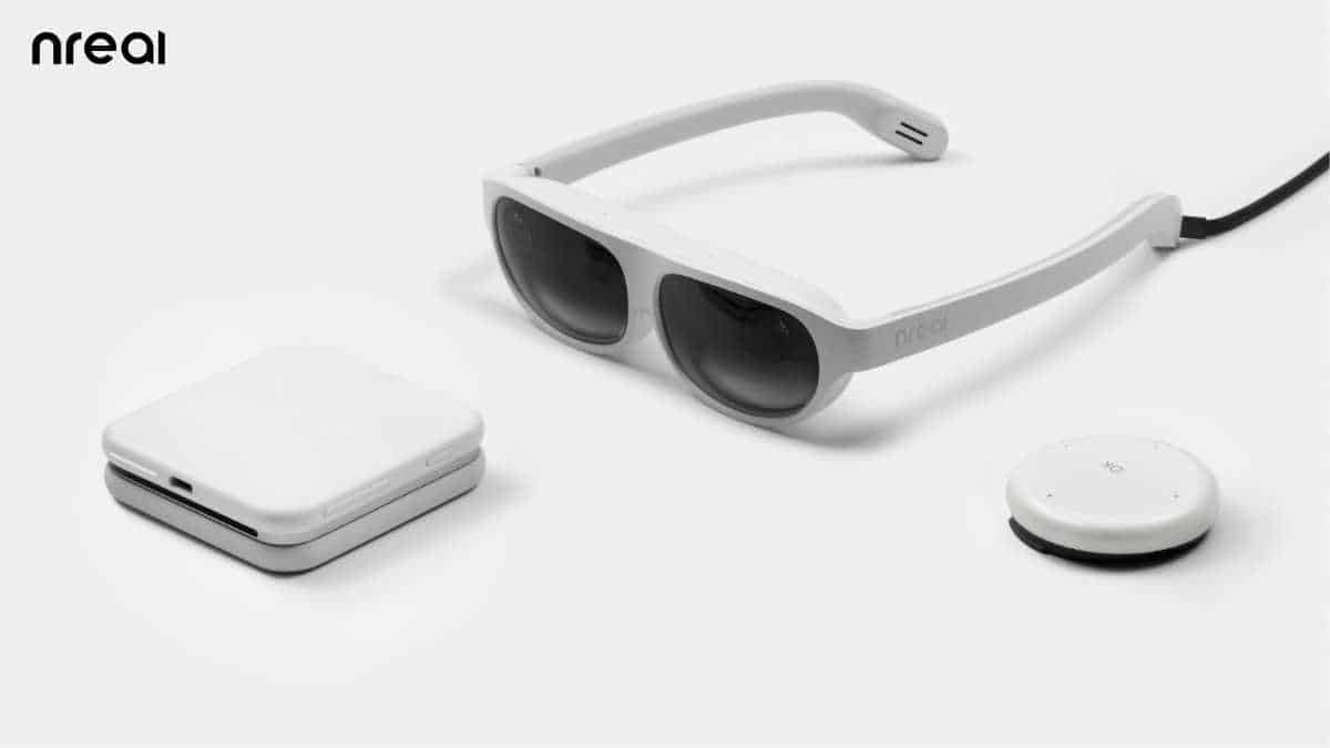 The nreal light mixed reality glasses tether to a 5G smartphone via USB-C.