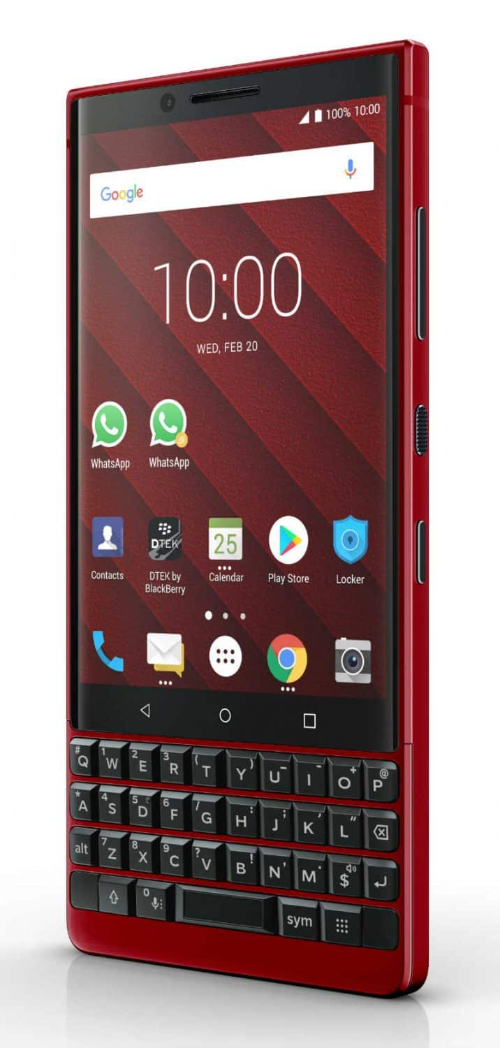 The BlackBerry KEY2 Red Edition smartphone.