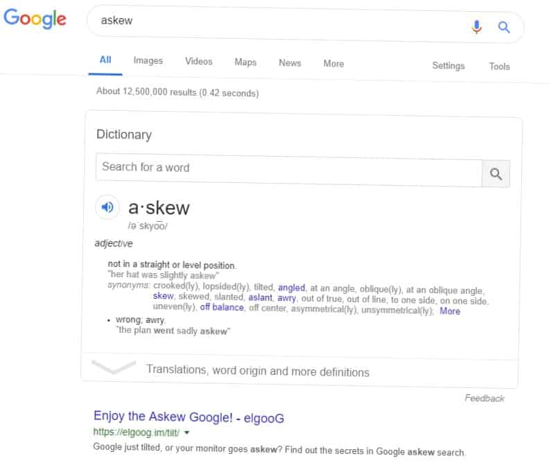 Google Search askew results