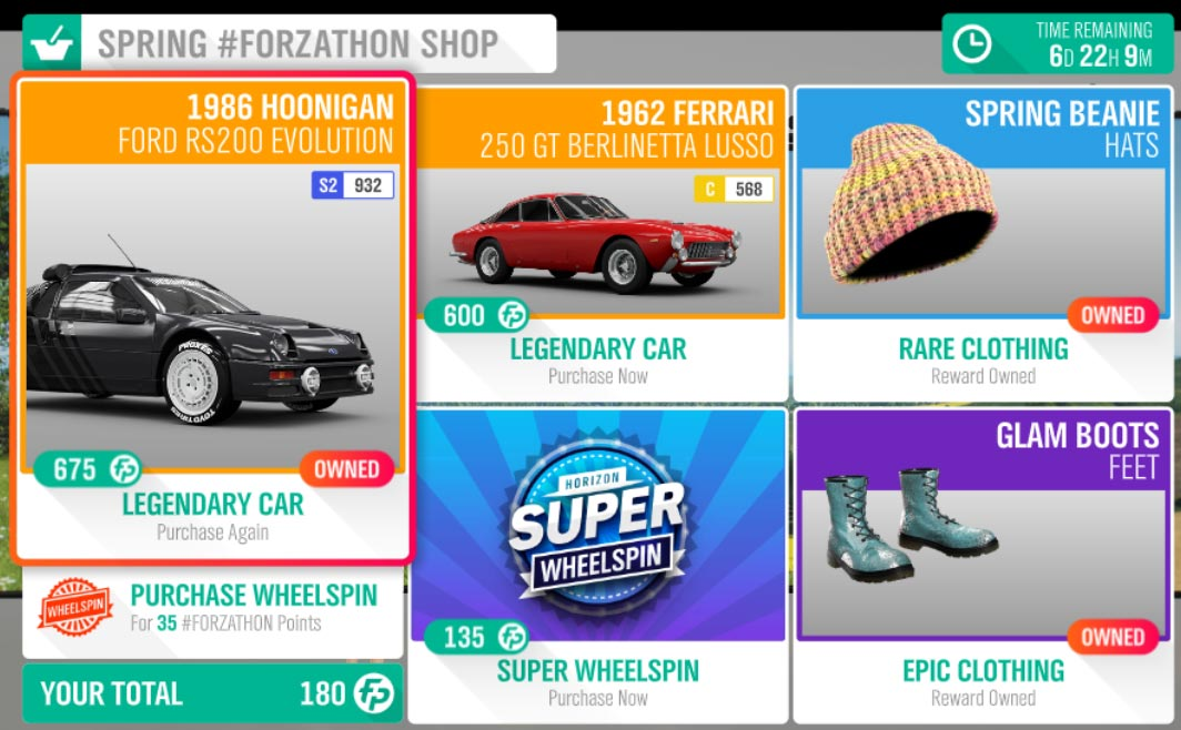 The May 30-June 6 Spring #Forzathon Shop items.