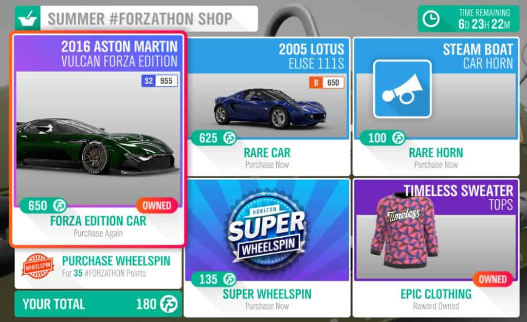 Forza Horizon 4 Summer #Forzathon Shop listings for May 9-16th
