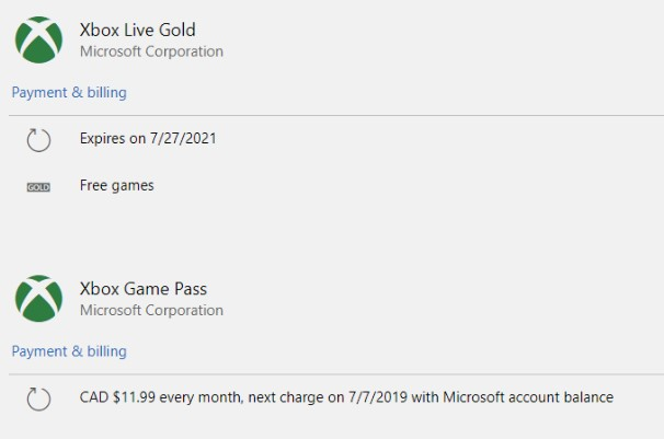 Pre-upgrade Xbox Live Gold and Xbox Game Pass subscriptions screenshot