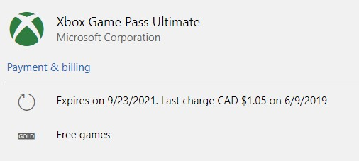Xbox Game Pass Ultimate subscription screenshot