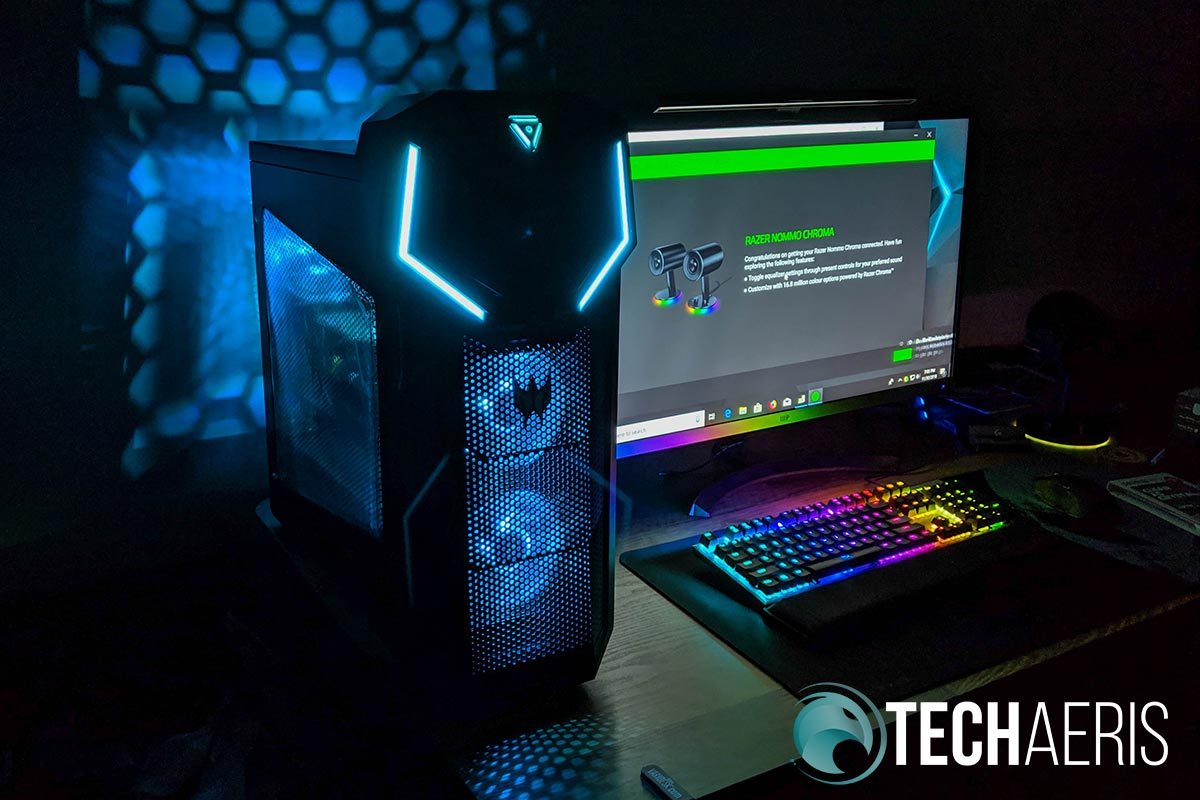 The blue LED lighting on the Acer Predator Orion 5000 makes for great gaming ambience VPN services gamers