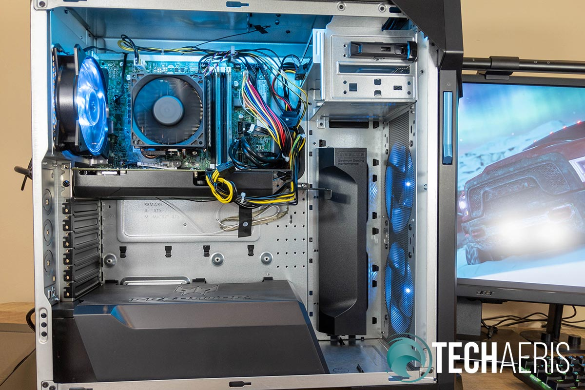 The inside view of the Acer Predator Orion 5000 gaming desktop