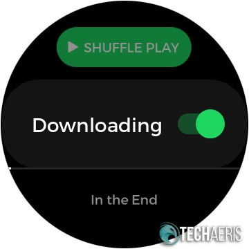 Spotify download option screen on the Samsung Galaxy Watch Active