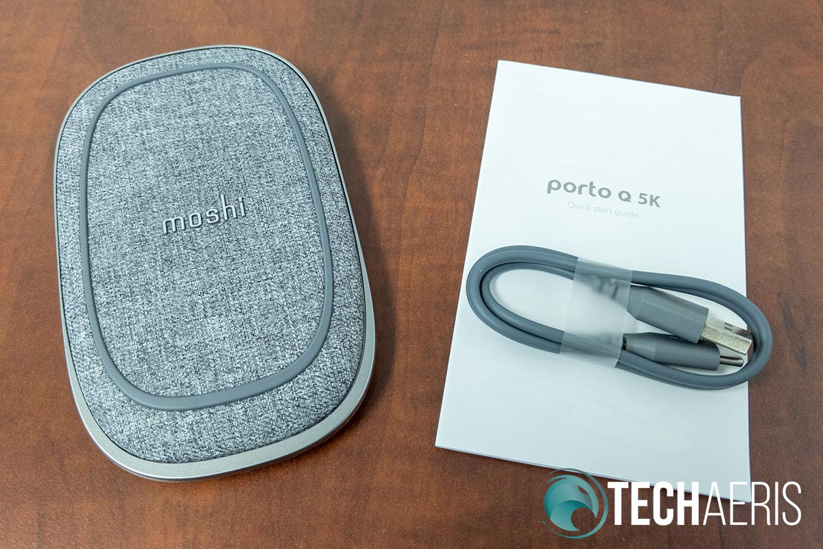 What's included with the Moshi Porto Q 5K portable power bank with wireless charging
