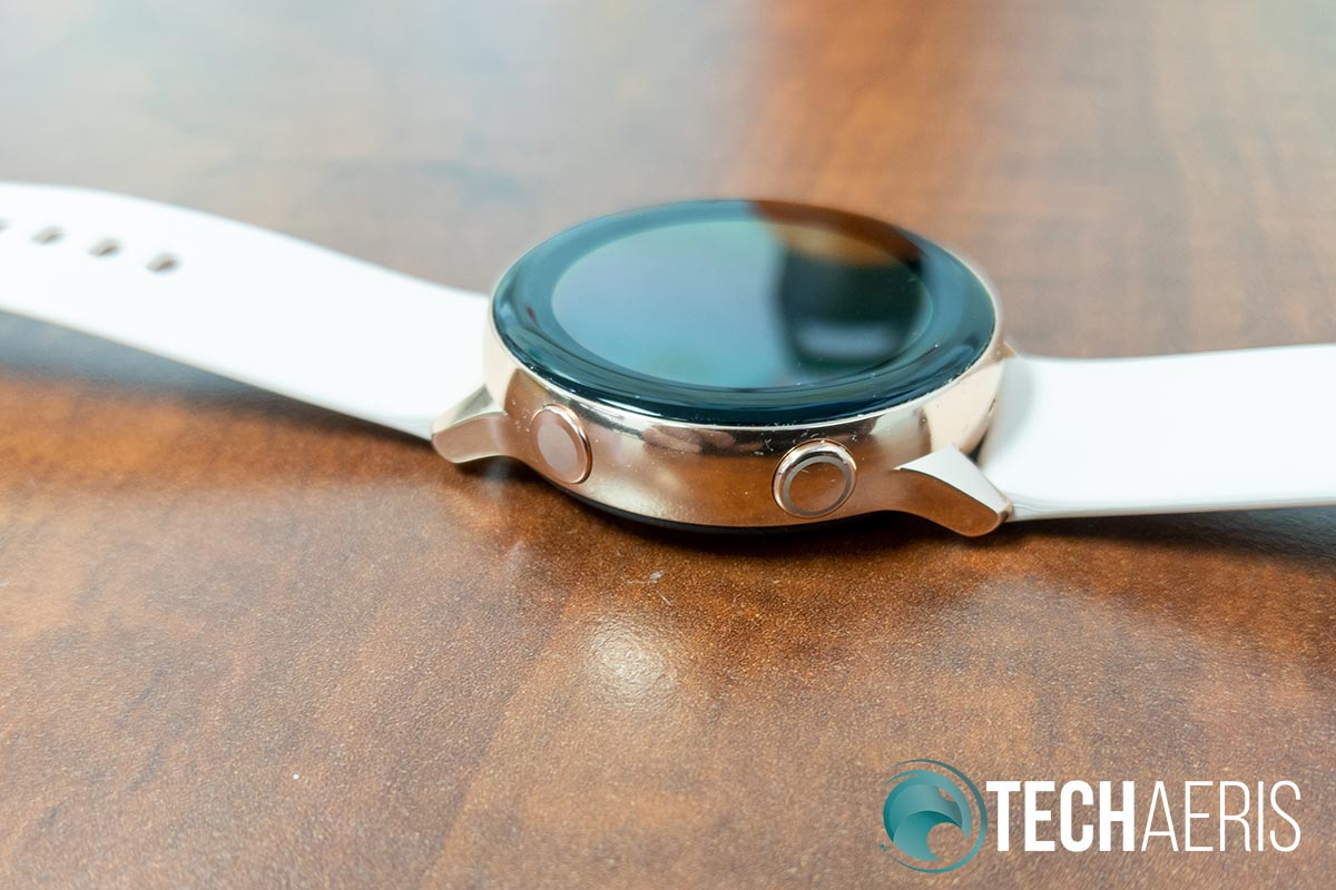 The Samsung Galaxy Watch Active has two buttons on the right side