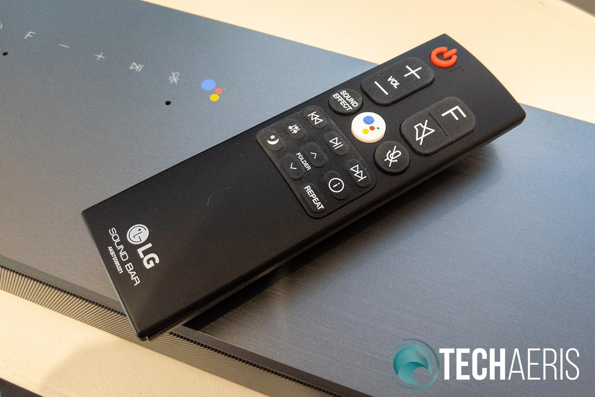 The remote included with the LG SL8YG Soundbar