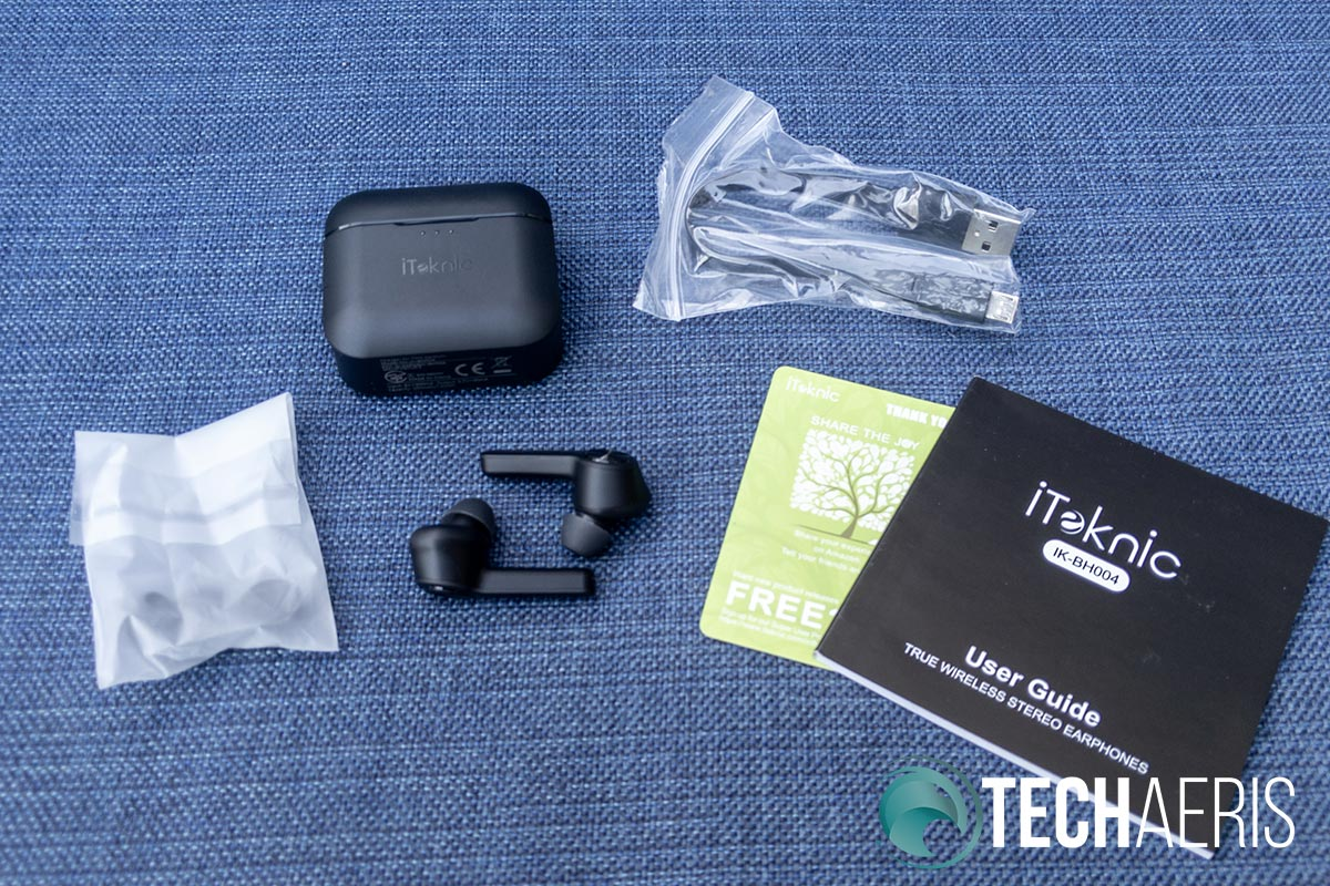 What's included with the iTeknic TWS Bluetooth Earbuds