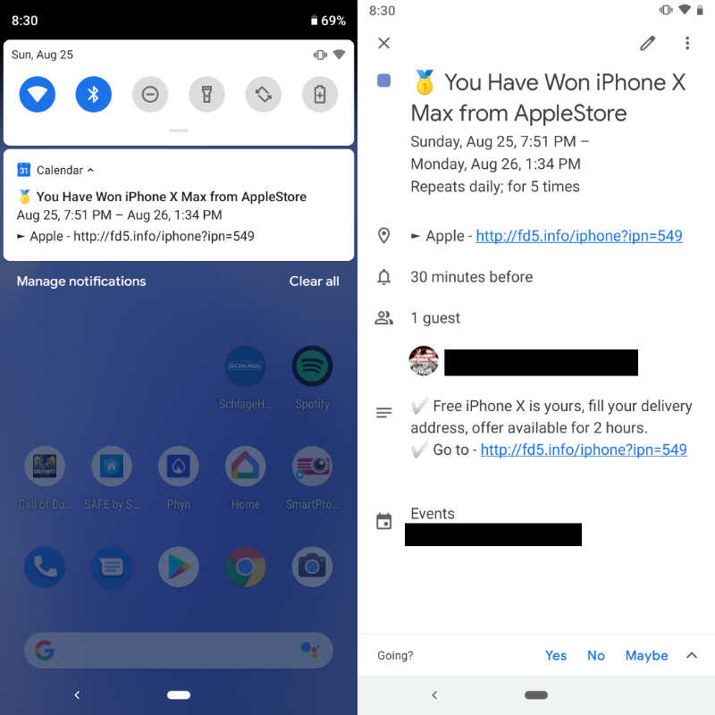Screenshots showing spam event notification and entry in Google Calendar on Android device