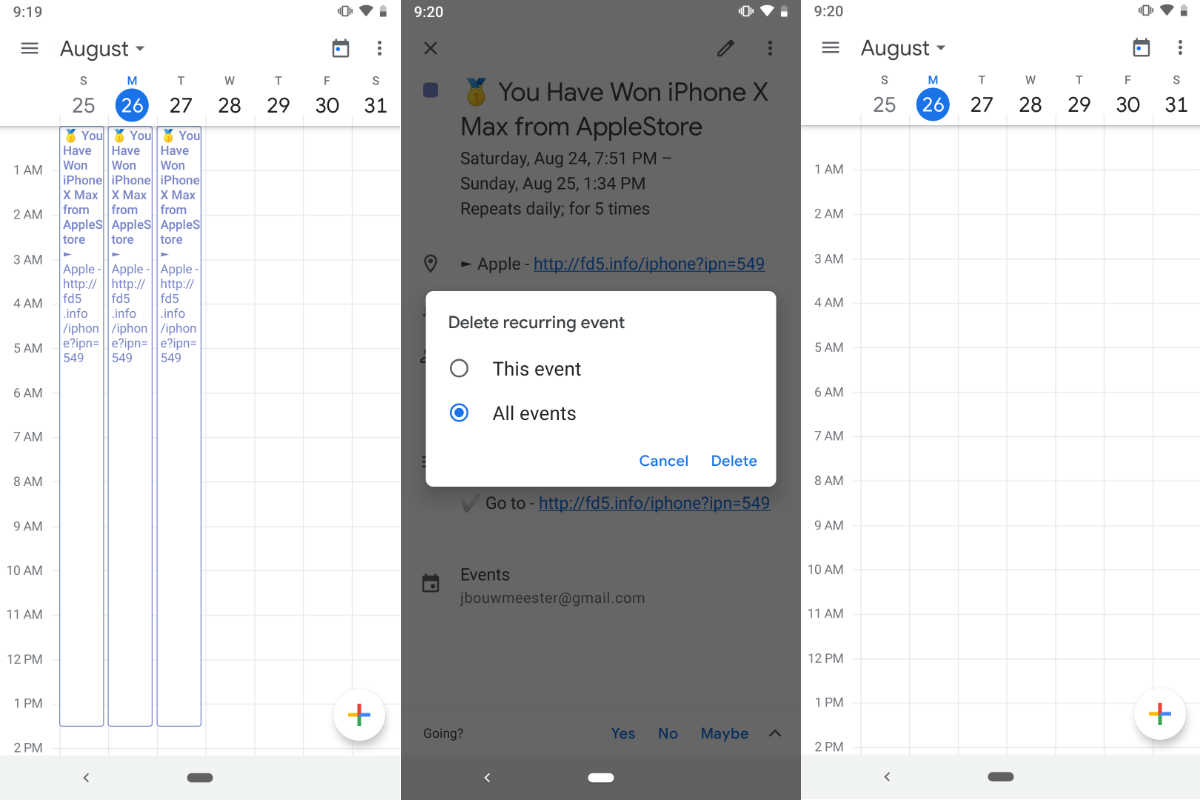 Screenshots of before and after removing recurring spam events from Google Calendar on an Android smartphone