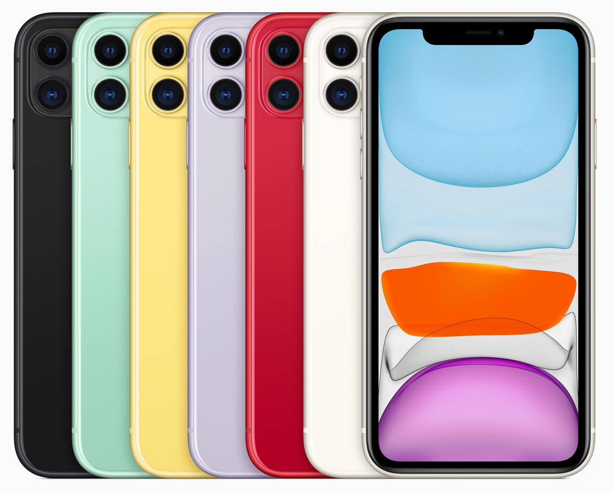The iPhone 11 comes in six color variations