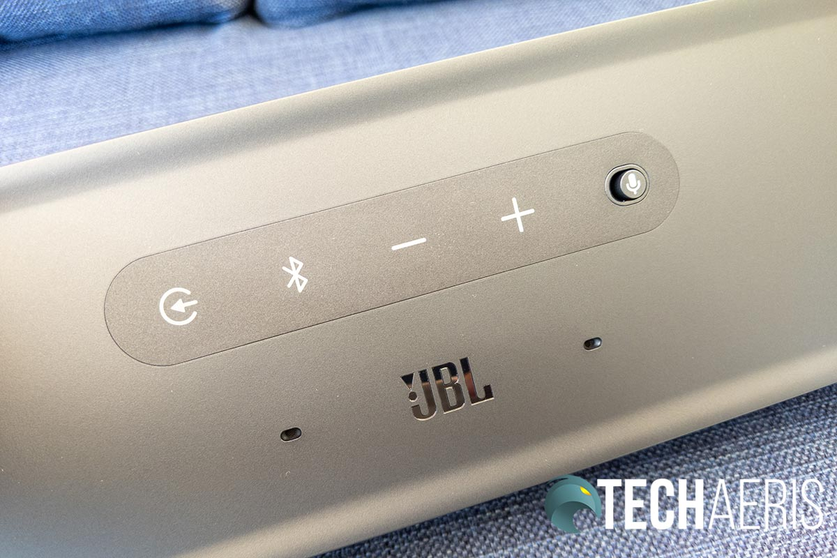 The top control panel on the JBL LINK BAR