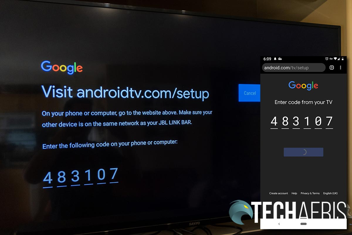 You'll need to use your smartphone to link up the JBL LINK BAR's Android TV feature