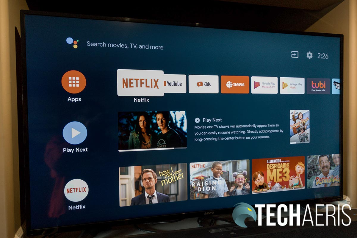 The JBL LINK BAR Android TV home screen interface