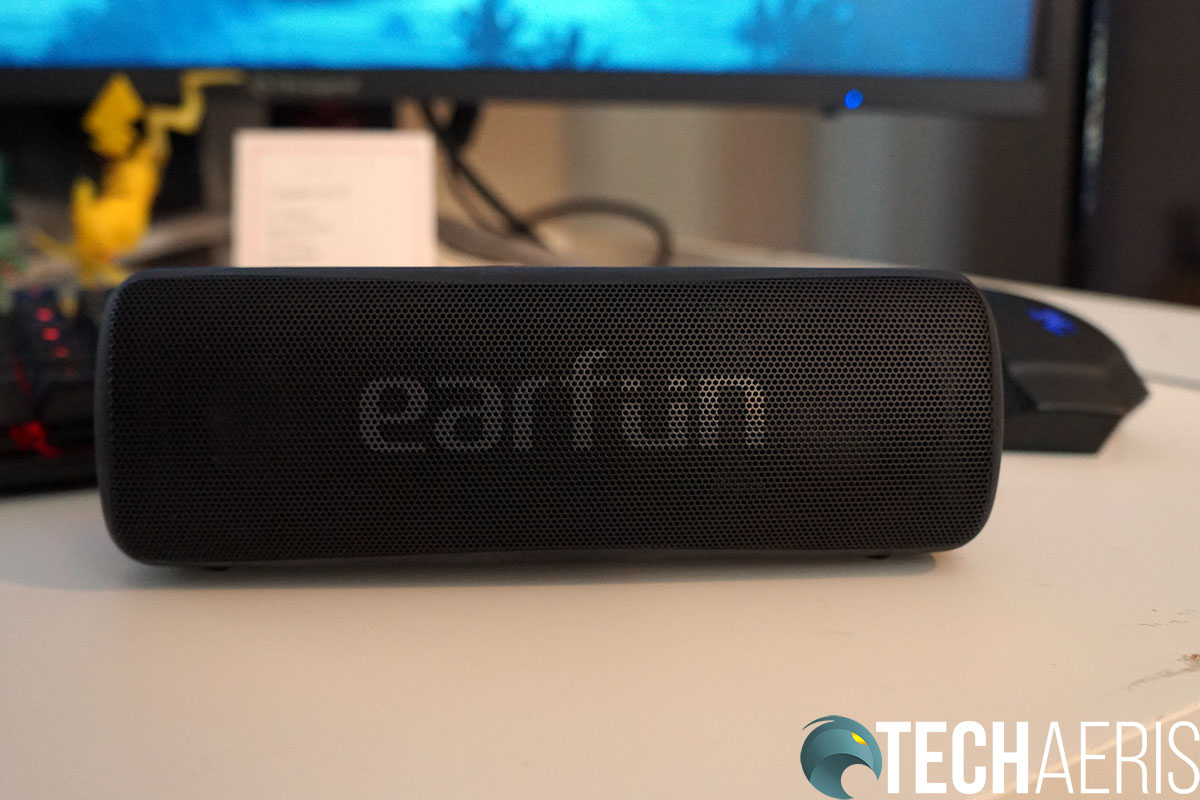 The EarFun logo on the front of the speaker