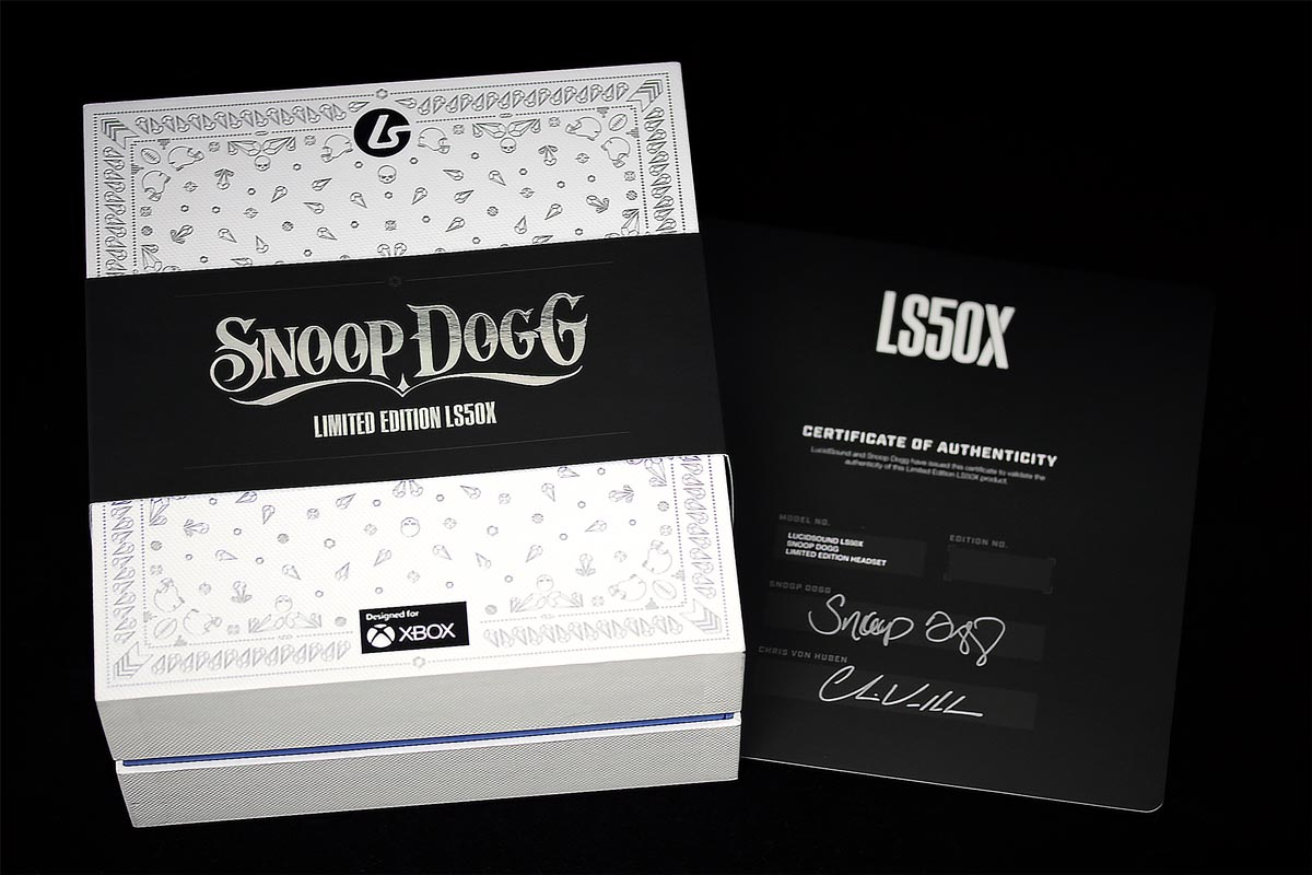 The LucidSound LS50X Snoop Dogg Limited Edition gaming headset packaging