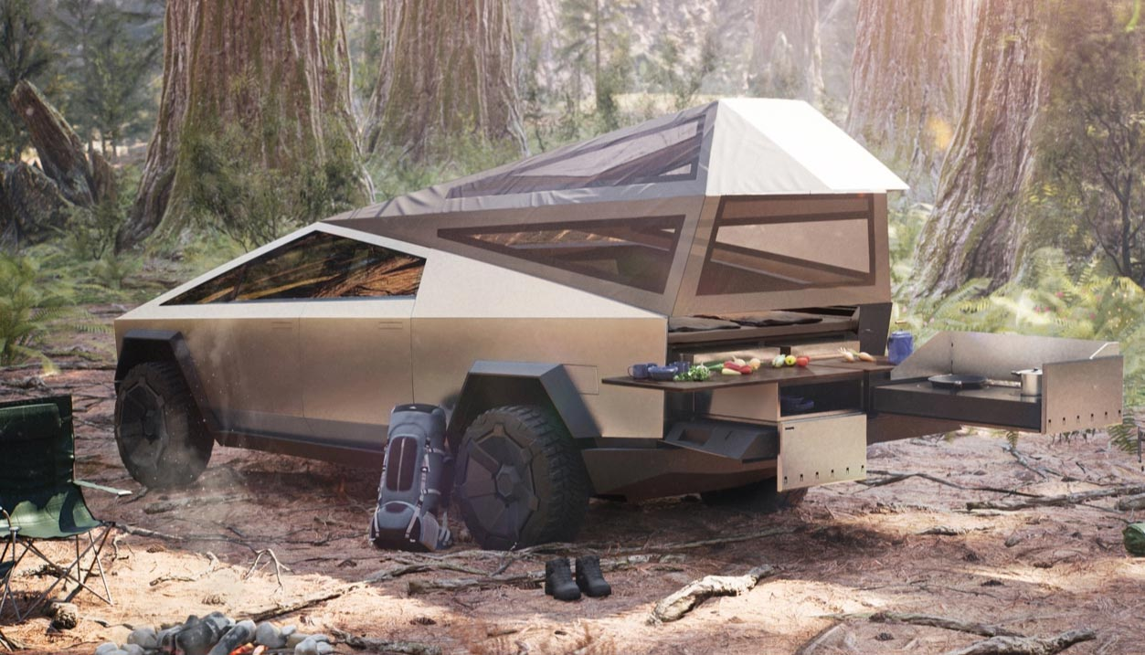 Tesla Cybertruck with camping gear