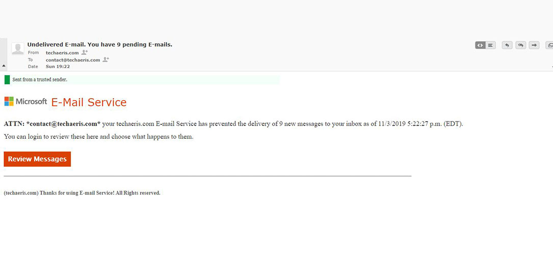 undelivered e-mail phishing scam