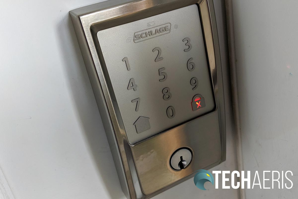 The red x indicates an invalid code entered into the Schlage Encode Smart Wi-Fi Deadbolt. Smart Keys