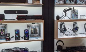 Altec Lansing gaming accessories display at CES 2020
