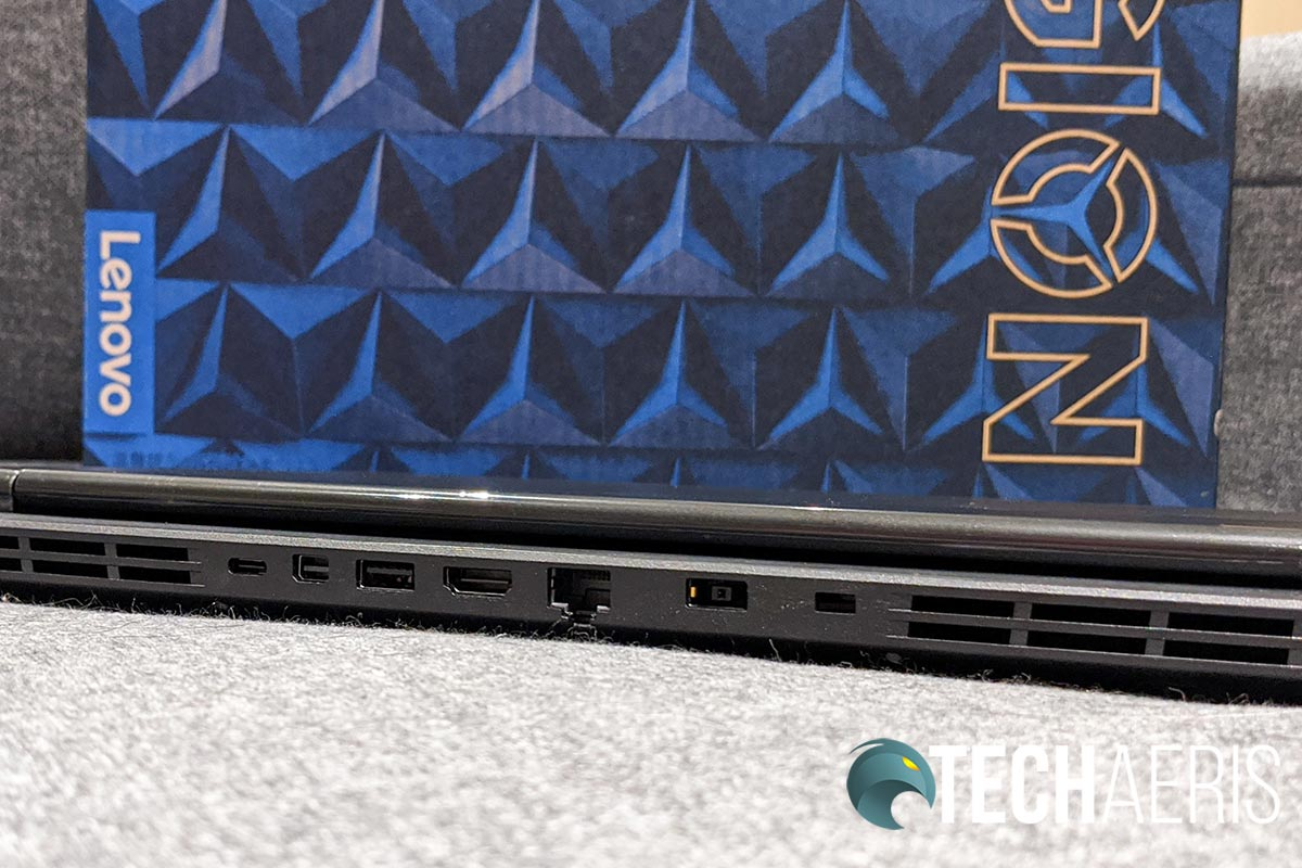 The rear ports on the Lenovo Legion Y540-15IRH gaming laptop