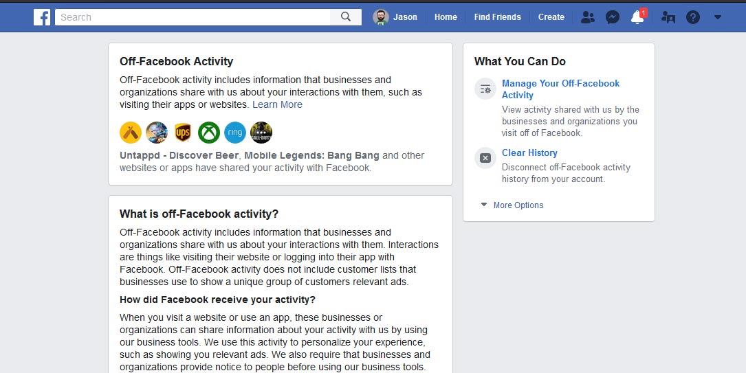 Off-Facebook Activity desktop screenshot