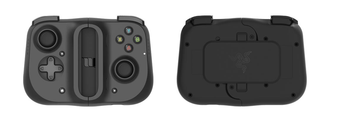 The front and back view of the Razer Kishi mobile game controller