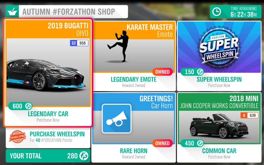 The Forza Horizon 4 Autumn #Forzathon Shop February 20-27th
