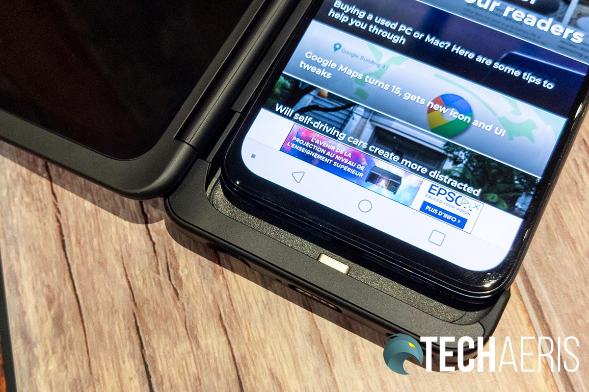 The LG G8X ThinQ smartphone connects to the Dual Screen accessory via USB Type-C