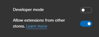 Extensions from other stores have been enabled