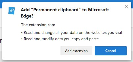 The Permanent Clipboard Chrome extension install notification window