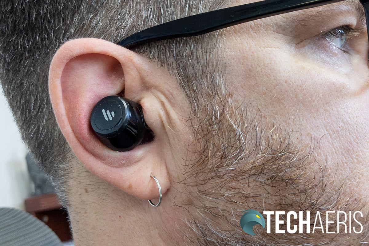 The Edifier TWS5 earbud in ear