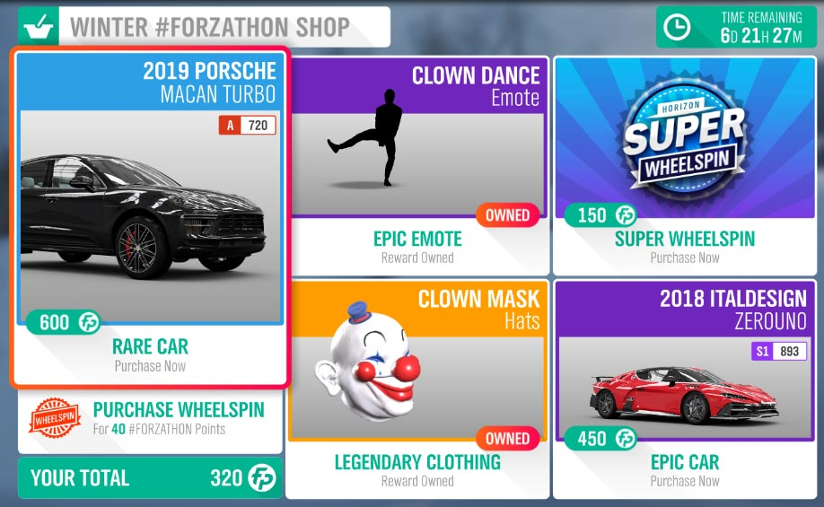 Forza Horizon 4 Winter #Forzathon Shop March 26-April 2
