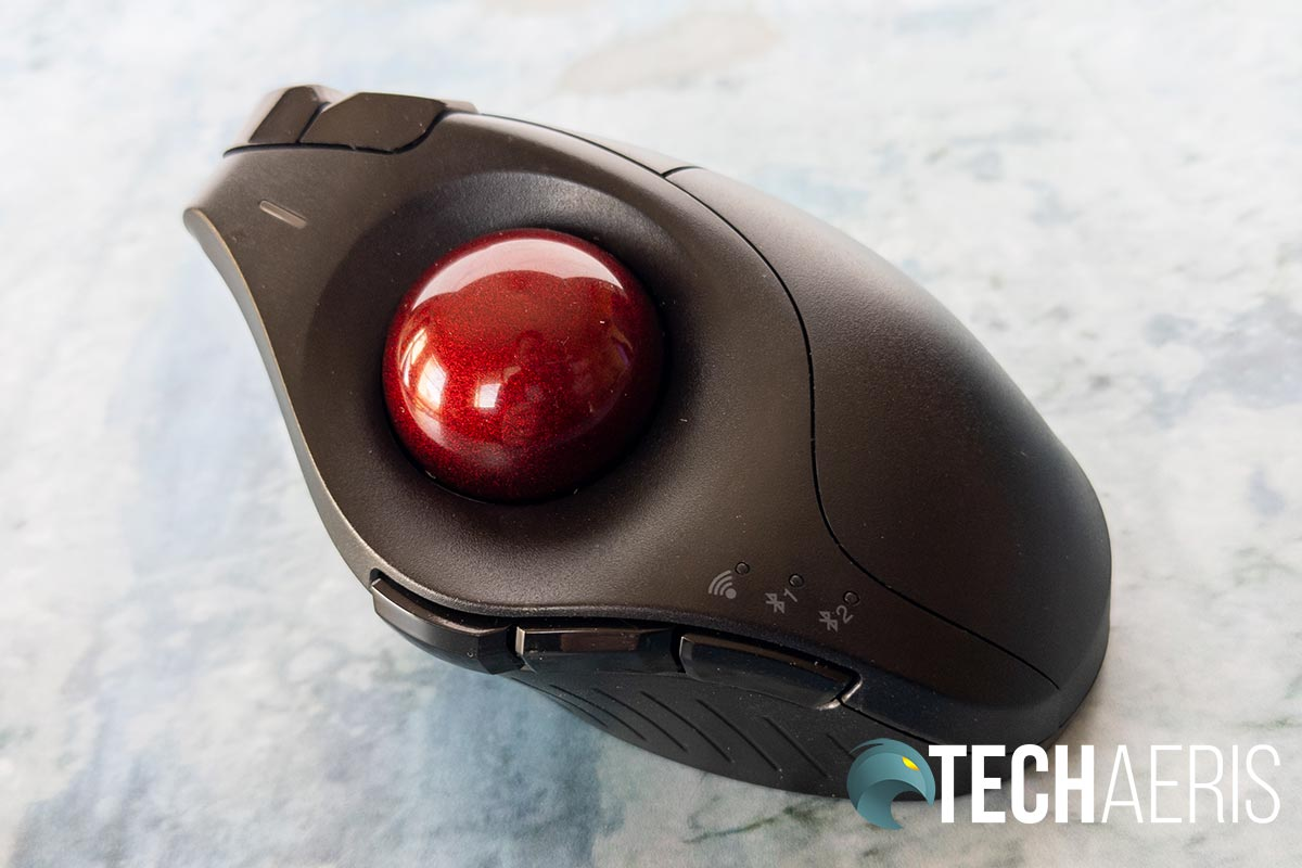 The trackball on the Kensington Pro Fit Ergo Vertical Trackball