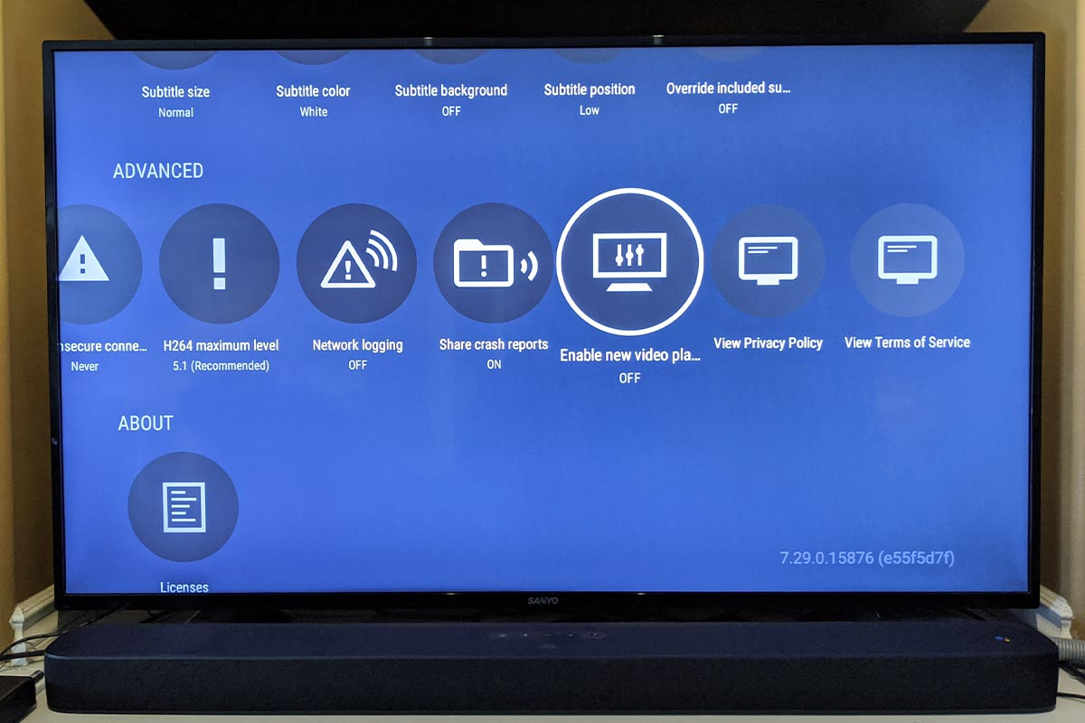 The Plex Android TV settings screen